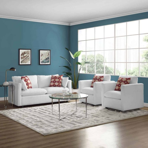 Activate 3 Piece Upholstered Fabric Set in White
