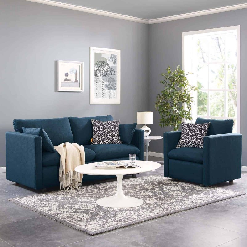 Activate Upholstered Fabric Sofa and Armchair Set in Azure