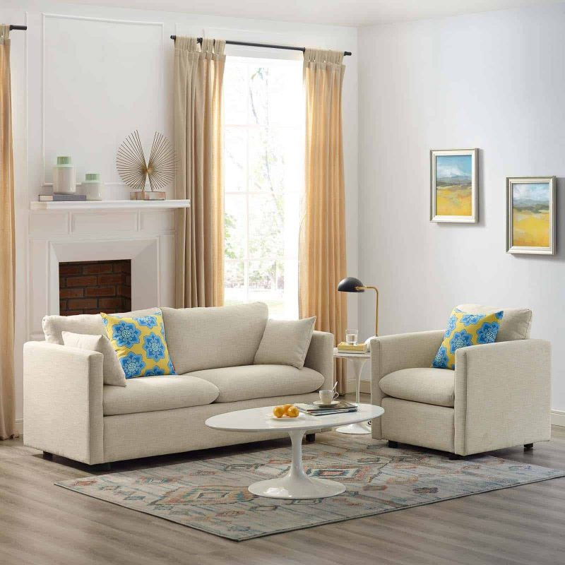 Activate Upholstered Fabric Sofa and Armchair Set in Beige