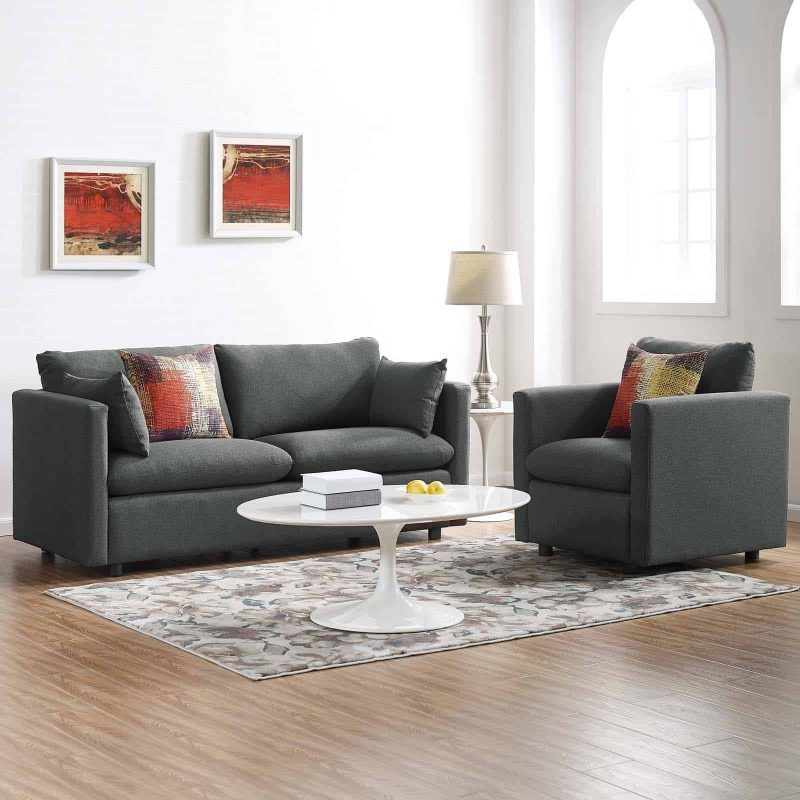 Activate Upholstered Fabric Sofa and Armchair Set in Gray