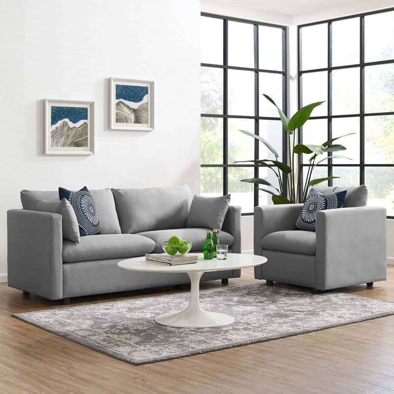 Activate Upholstered Fabric Sofa and Armchair Set in Light Gray