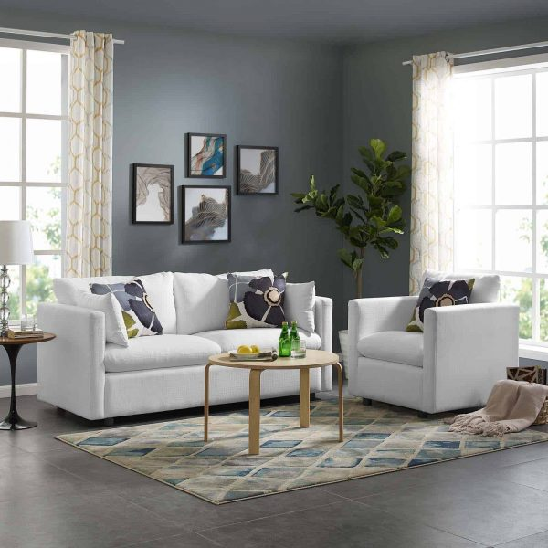 Activate Upholstered Fabric Sofa and Armchair Set in White