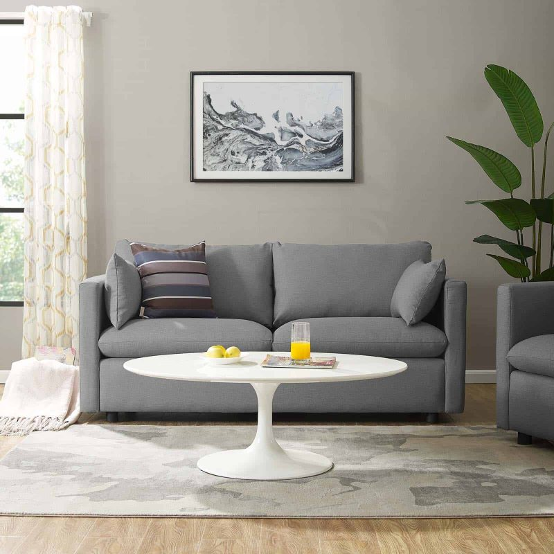 Activate Upholstered Fabric Sofa in Light Gray