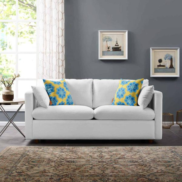 Activate Upholstered Fabric Sofa in White