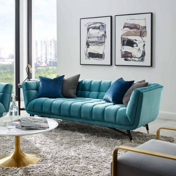 Adept Performance Velvet Sofa in Sea Blue