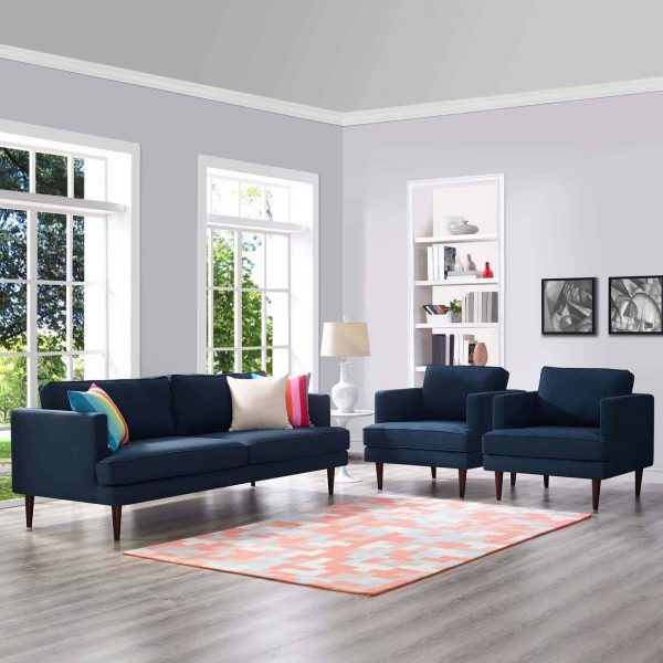 Agile 3 Piece Upholstered Fabric Set in Blue