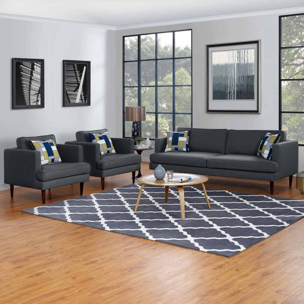 Agile 3 Piece Upholstered Fabric Set in Gray
