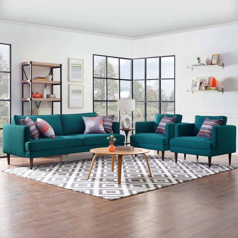 Agile 3 Piece Upholstered Fabric Set in Teal