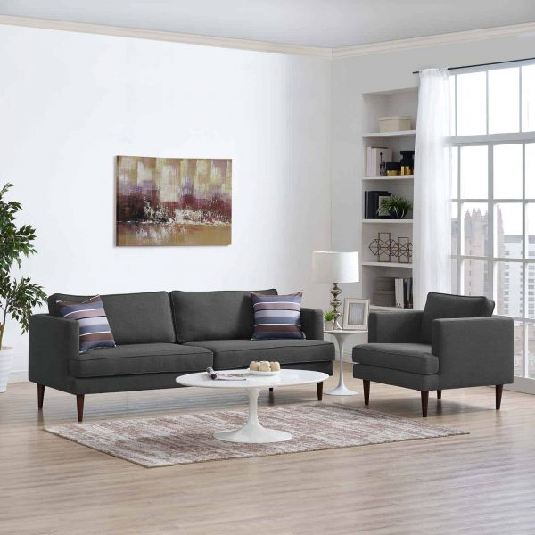 Agile Upholstered Fabric Sofa and Armchair Set in Gray