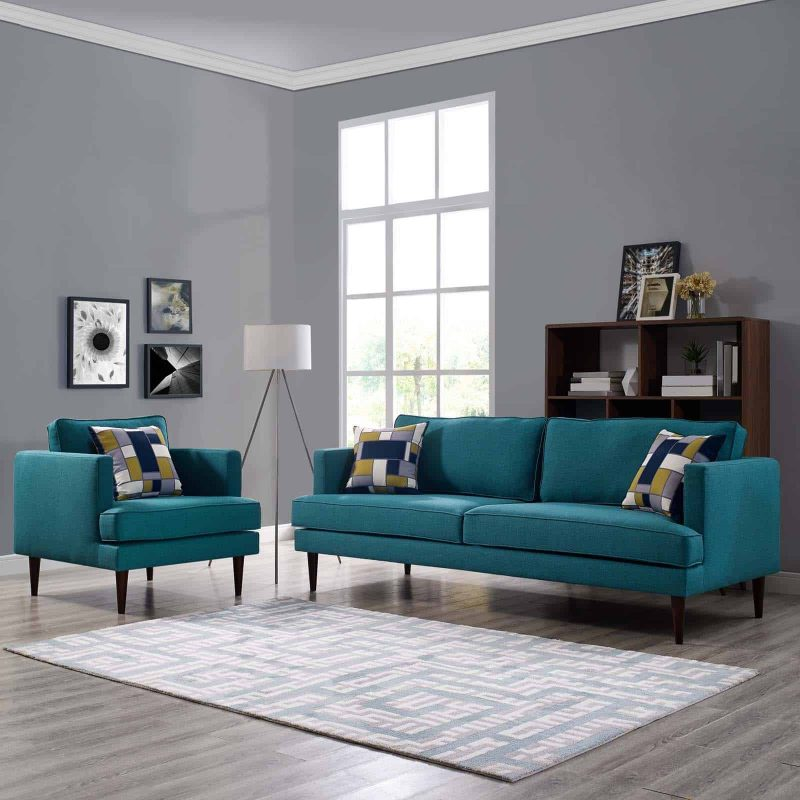 Agile Upholstered Fabric Sofa and Armchair Set in Teal