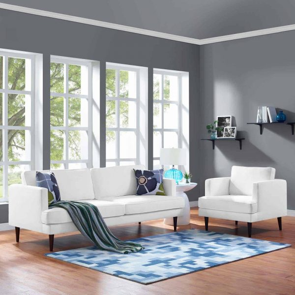 Agile Upholstered Fabric Sofa and Armchair Set in White