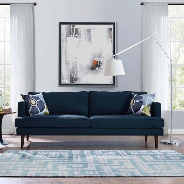 Agile Upholstered Fabric Sofa in Blue