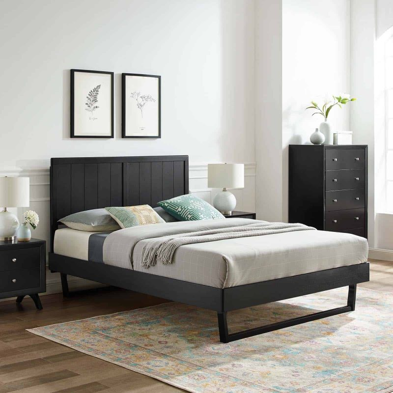 Alana Full Wood Platform Bed With Angular Frame in Black