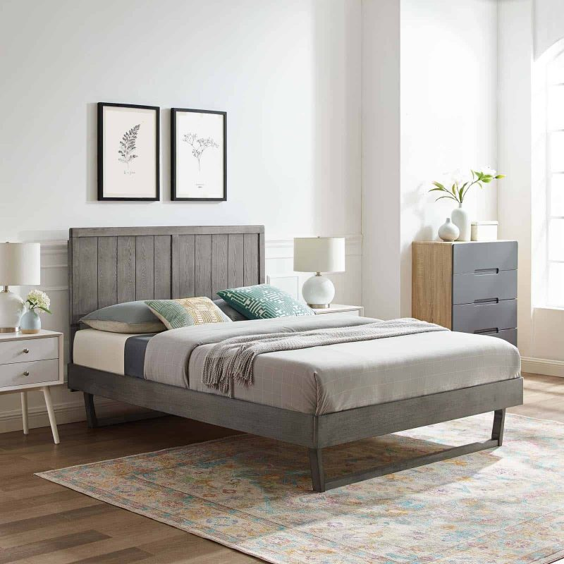 Alana Full Wood Platform Bed With Angular Frame in Gray