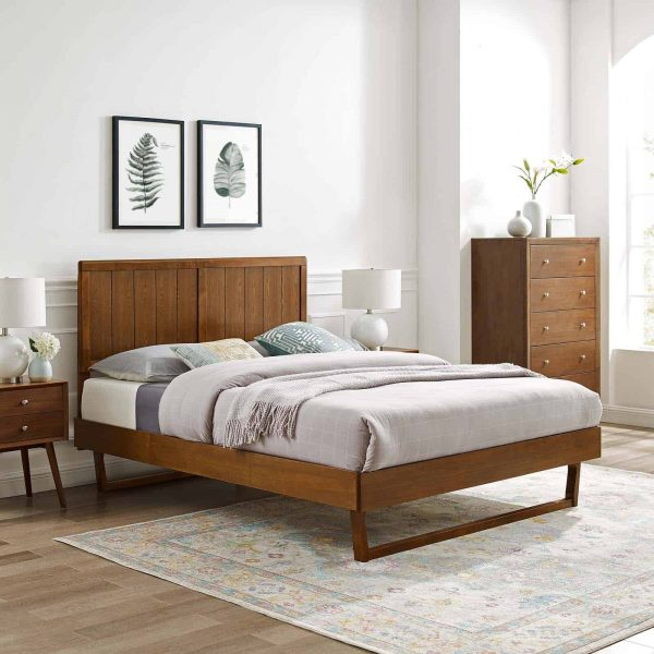 Alana Full Wood Platform Bed With Angular Frame in Walnut