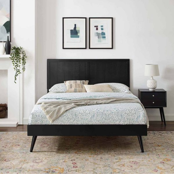 Alana Full Wood Platform Bed With Splayed Legs in Black