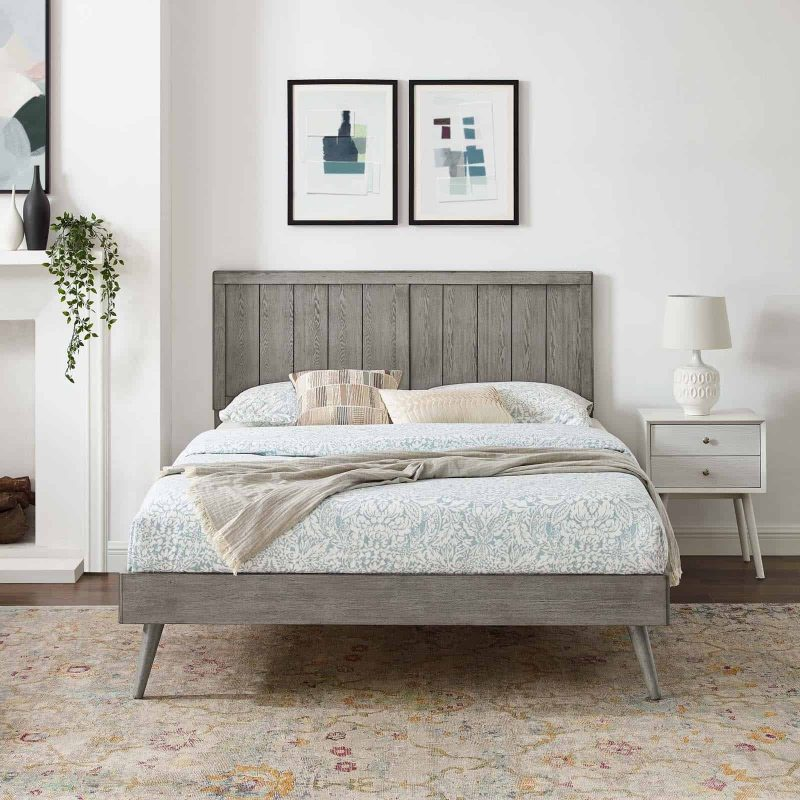Alana King Wood Platform Bed With Splayed Legs in Gray