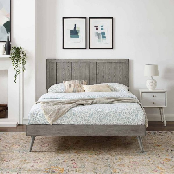 Alana Queen Wood Platform Bed With Splayed Legs in Gray