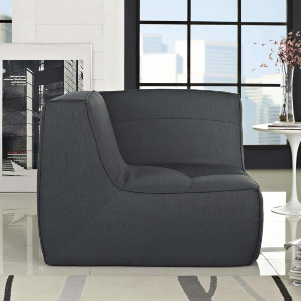 Align Upholstered Fabric Corner Sofa in Charcoal