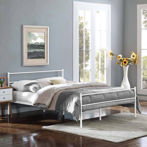 Alina Full Platform Bed Frame in White