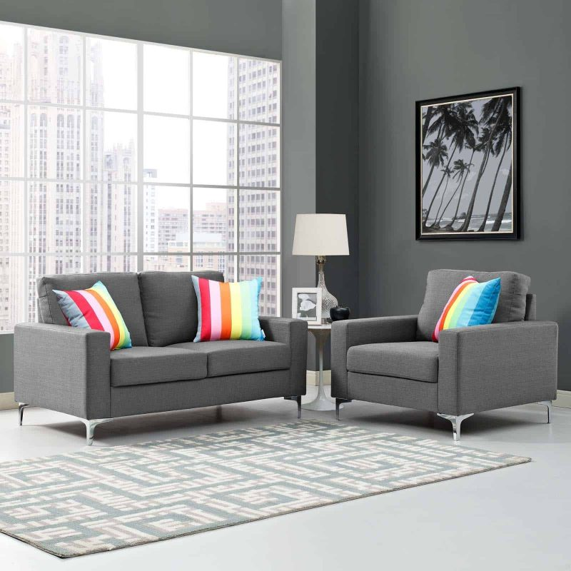 Allure 2 Piece Sofa and Armchair Set in Gray