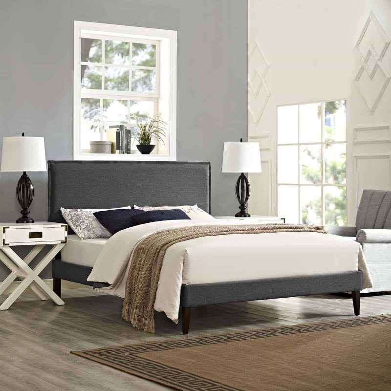 Amaris King Fabric Platform Bed with Squared Tapered Legs in Gray