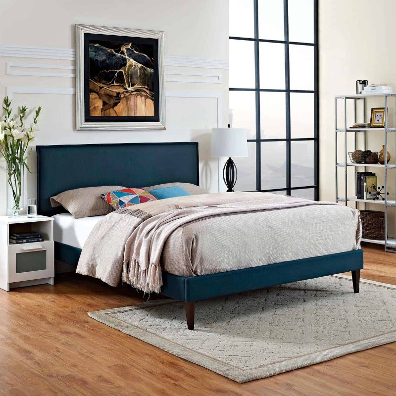 Amaris Queen Fabric Platform Bed with Squared Tapered Legs in Azure