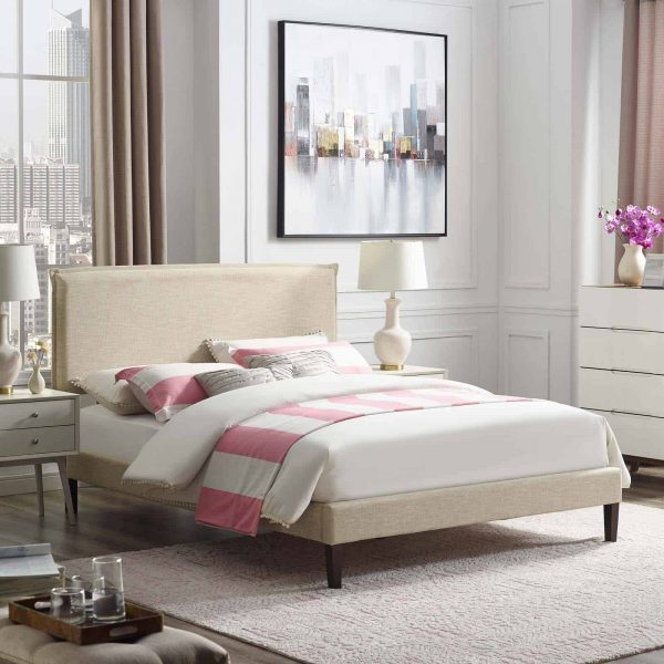 Amaris Queen Fabric Platform Bed with Squared Tapered Legs in Beige