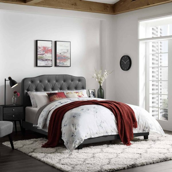 Amelia Full Faux Leather Bed in Gray