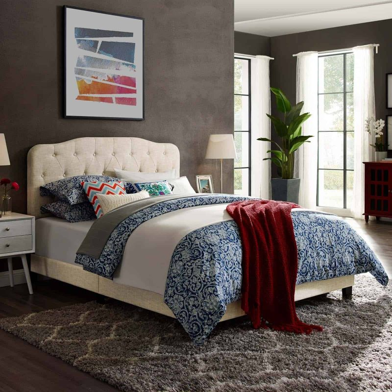 Amelia Full Upholstered Fabric Bed in Beige