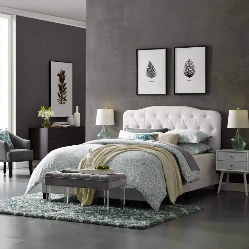 Amelia King Faux Leather Bed in White