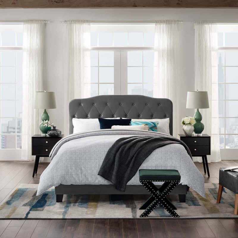 Amelia King Performance Velvet Bed in Gray