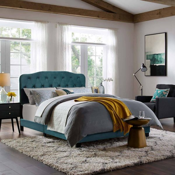 Amelia Queen Performance Velvet Bed in Sea Blue