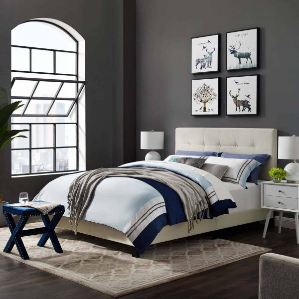 Amira Full Performance Velvet Bed in Ivory