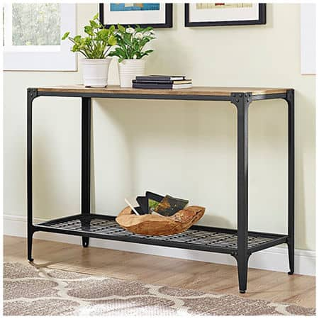 Angle Iron Rustic Wood Sofa Entry Table, One Size , Brown