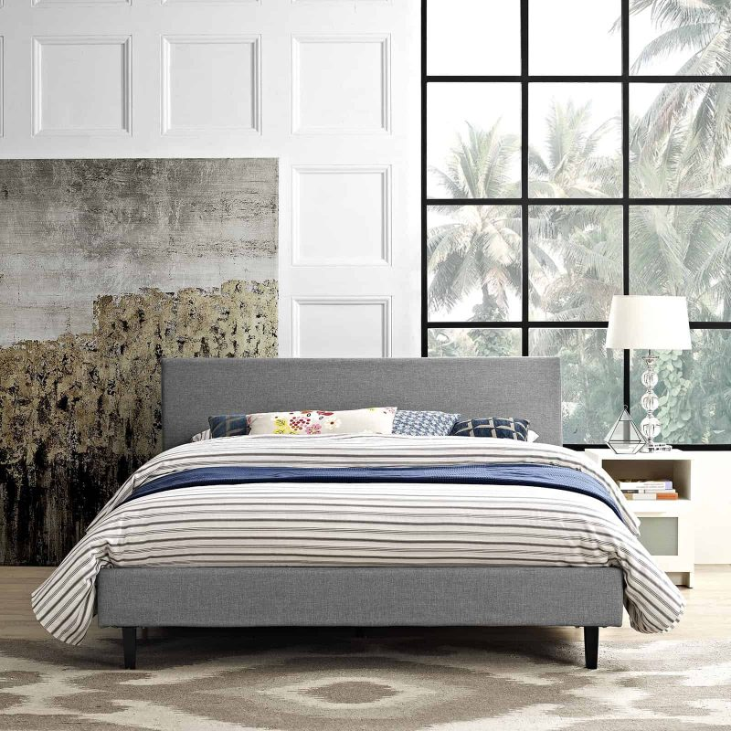 Anya Queen Bed in Light Gray
