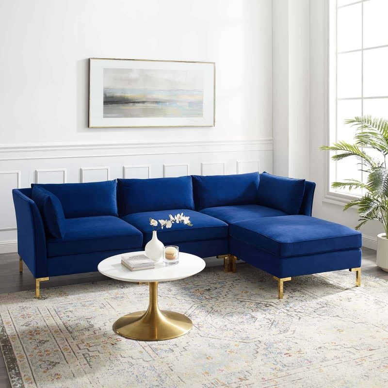 Ardent 4-Piece Performance Velvet Sectional Sofa in Navy