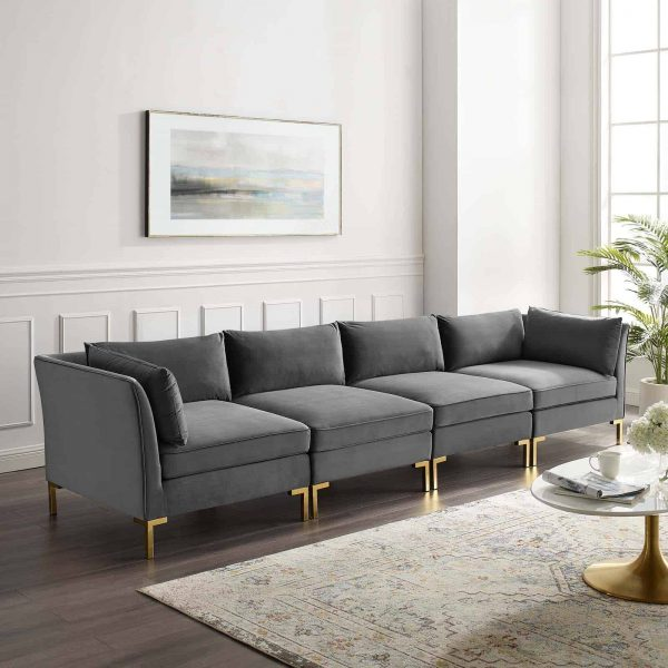 Ardent 4-Seater Performance Velvet Sofa in Gray