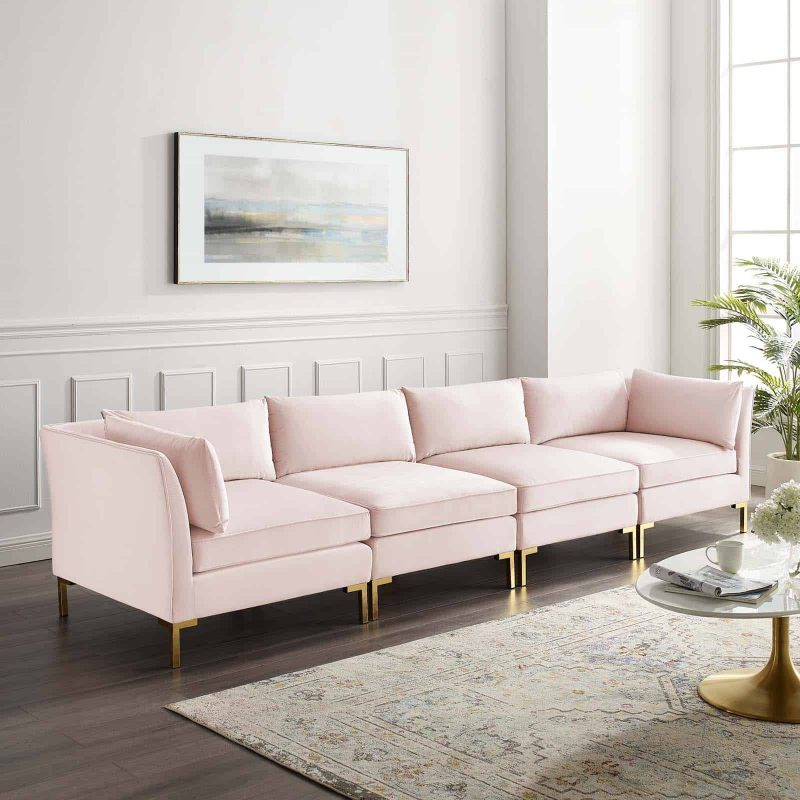 Ardent 4-Seater Performance Velvet Sofa in Pink