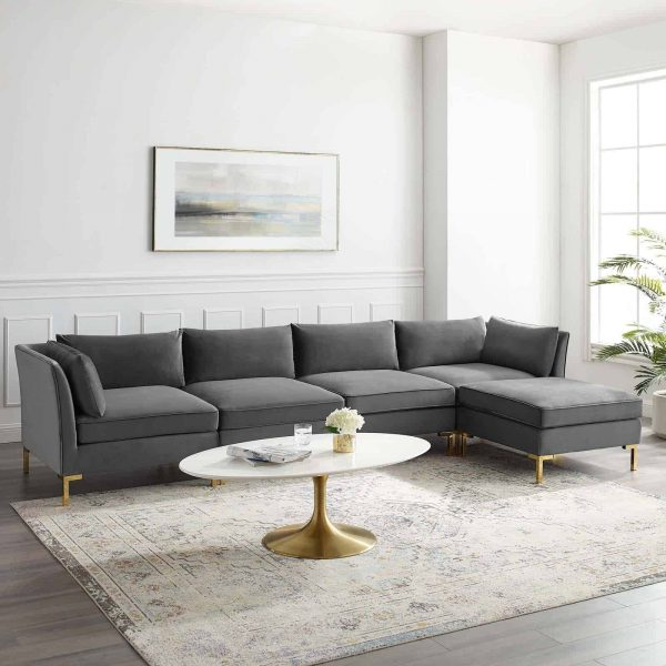 Ardent 5-Piece Performance Velvet Sectional Sofa in Gray