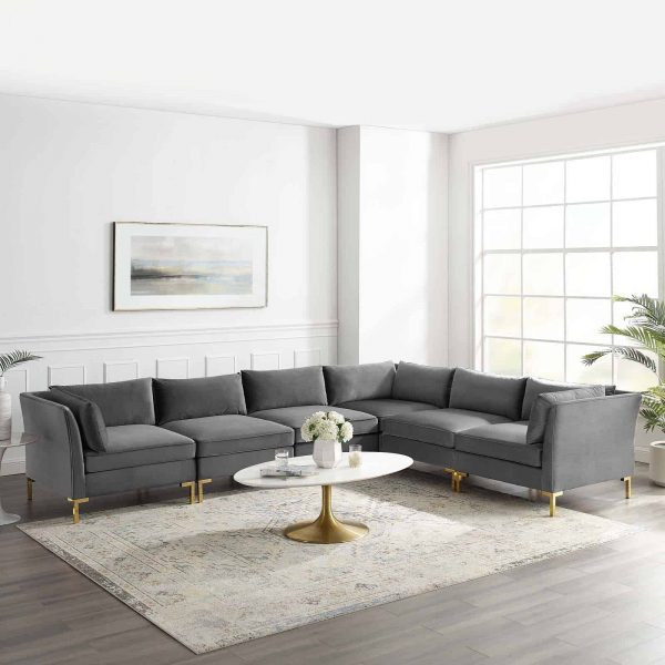 Ardent 6-Piece Performance Velvet Sectional Sofa in Gray