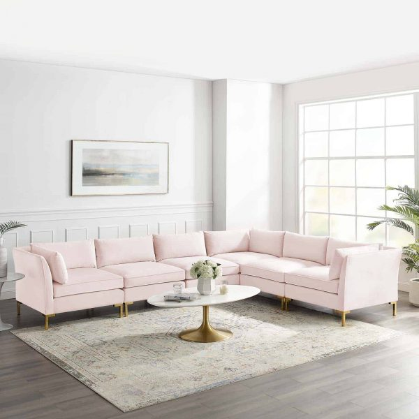 Ardent 6-Piece Performance Velvet Sectional Sofa in Pink