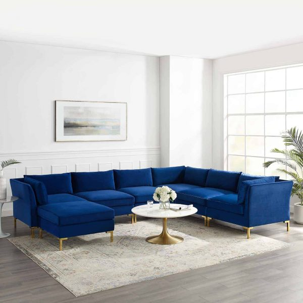 Ardent 7-Piece Performance Velvet Sectional Sofa in Navy