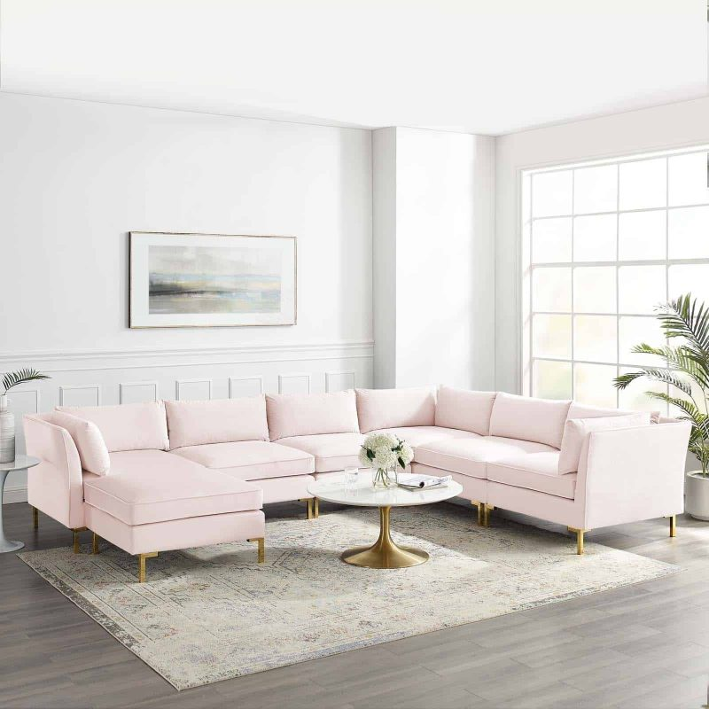 Ardent 7-Piece Performance Velvet Sectional Sofa in Pink