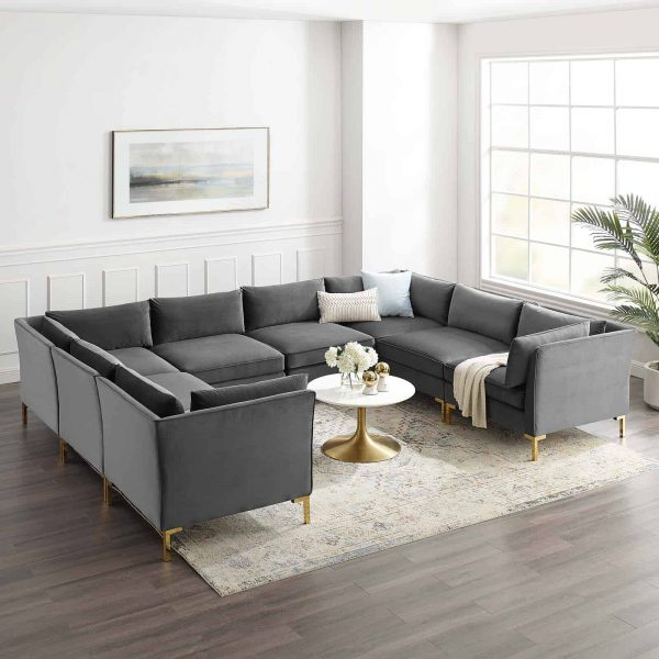 Ardent 8-Piece Performance Velvet Sectional Sofa in Gray
