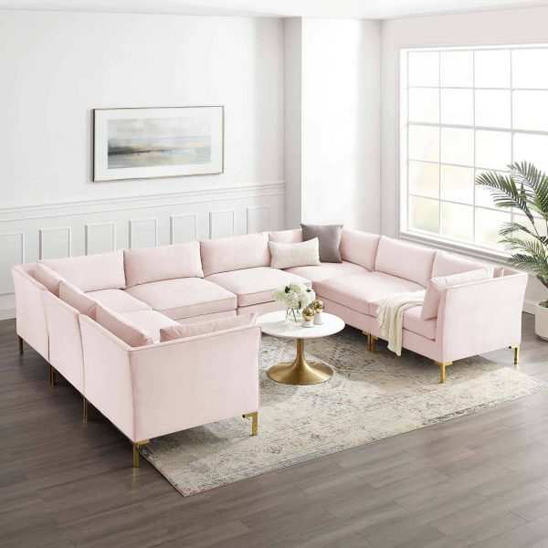 Ardent 8-Piece Performance Velvet Sectional Sofa in Pink