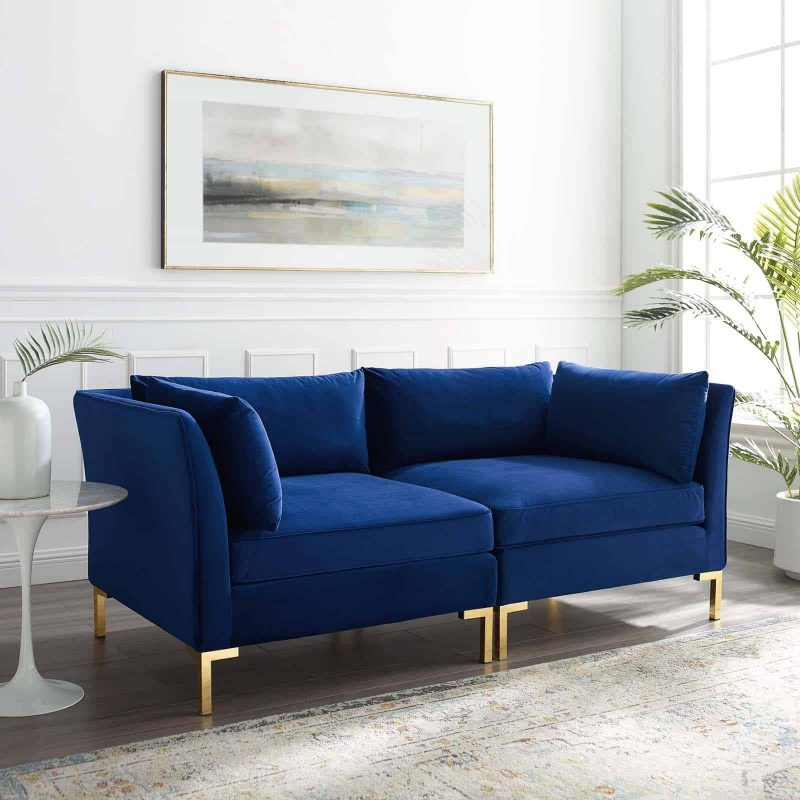 Ardent Performance Velvet Loveseat in Navy