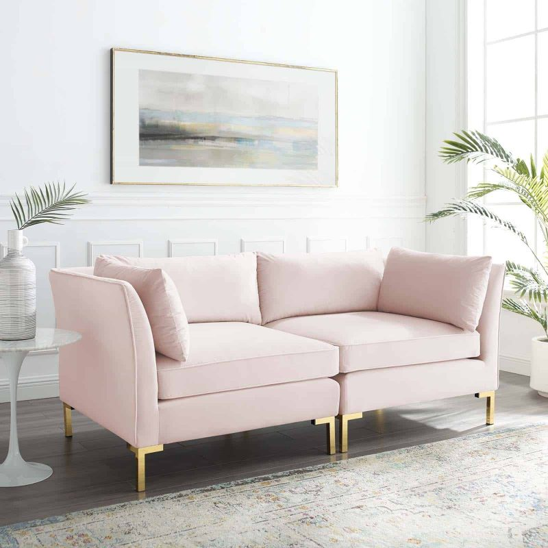 Ardent Performance Velvet Loveseat in Pink