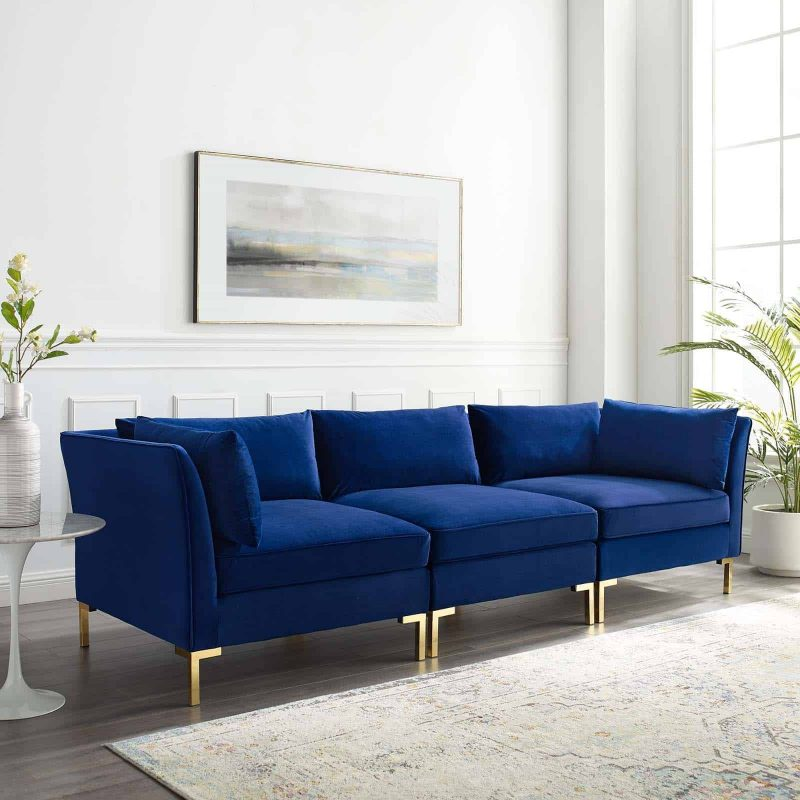 Ardent Performance Velvet Sofa in Navy