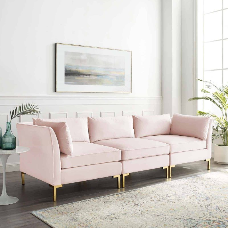 Ardent Performance Velvet Sofa in Pink